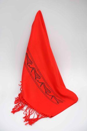 شال (رنگ قرمز- طرح یوزپلنگ)