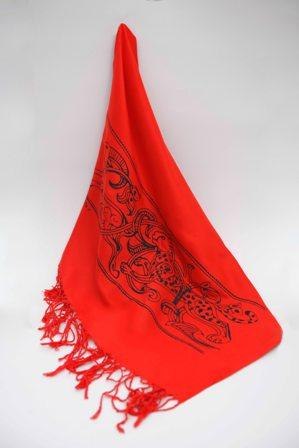 شال (رنگ قرمز- طرح یوز و قوچ)